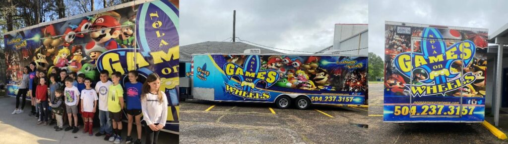 Video game truck party in New Orleans collage