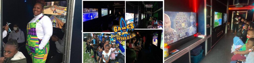 Video game truck birthday party in New Orleans with NOLA Games On Wheels